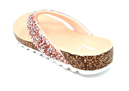 Emma Ladies/Womens Flat Cork Contrast Sole with Jewel Diamante Encrusted Toe-Post Strap Sandal by Sizes 3,4,5,6,7,8 Pink