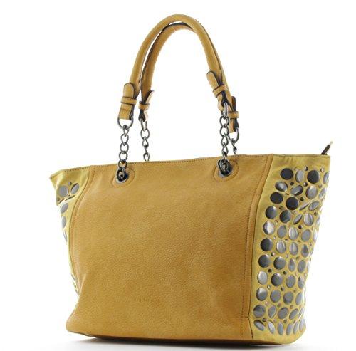EMILY & NOAH Shopper Henkeltasche mit Metallpunkten Gelb