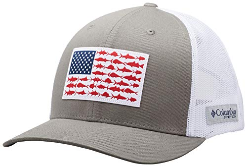 Columbia Men's PFG Fish Flag Snapback Ball Cap, Breathable, - Back Hat Cap Snap
