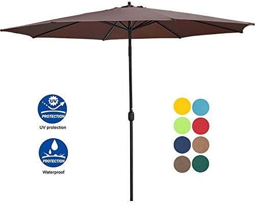 Sundale Outdoor 11 Feet Round Market Patio Umbrella 1.9in Bronze Aluminum Pole with Crank, Sun Protection and Fade Resistant Canopy, No Push Button Tilt, Coffee