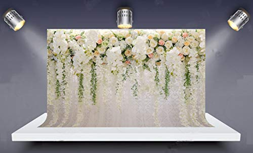HUAYI 8x6ft Wedding Floral Wall Backdrop Bridal Shower White Flowers Photo Backdrop Photography Background White 3D Flowers Curtain Dessert Table Photo Shooting Xt-6749