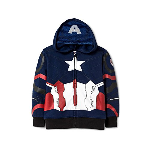 Toddler Captain America Costumes Hoodie (Marvel Toddler Boys' Captain America Civil War Costume Zipper Hoodie Sweatshirt 2T)