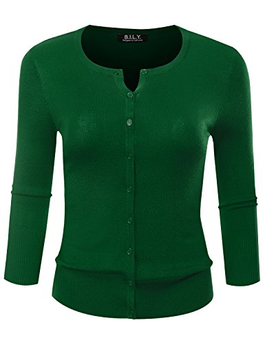 BILY Women's Round Neck Button Down 3/4 Sleeve Soft Classic Knit Cardigan Kelly Green Petite Large -