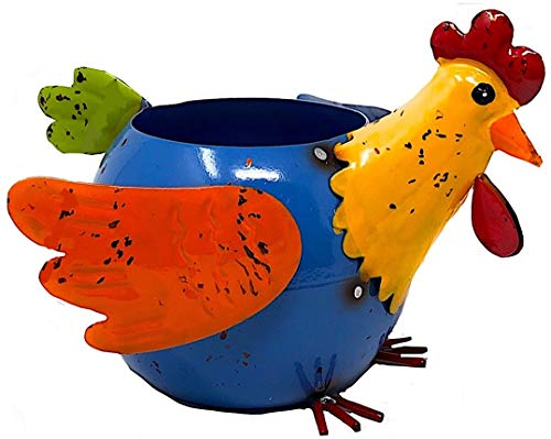 Mayrich Metal Planter Rooster Chicken Hen Colorful Succulent Flowers Living Fake Artificial Indoor Outdoor Garden Pot Decor 8