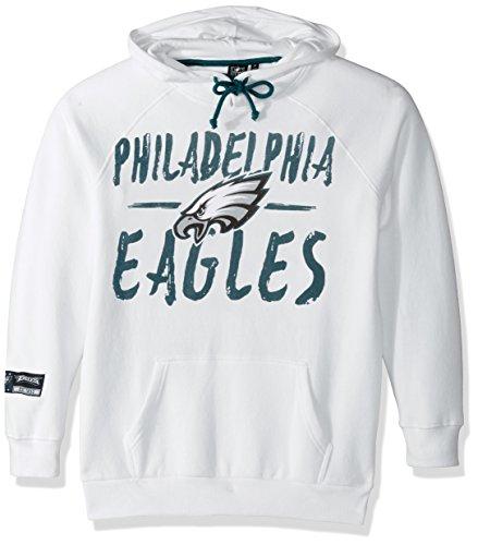 NFL Women's Philadelphia Eagles Fleece Hoodie Pullover Sweatshirt Tie Neck, X-Large, White (Eagle Hoodie)