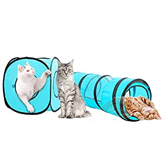 PAWISE Cat Toys Cat Portable Tunnel Cat Cube Pop Up Collapsible Kitten Indoor Outdoor Toys Pet Foldable Tube Playing Toys (Tunnel Cube)