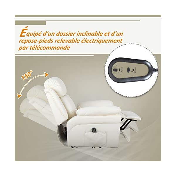 Homcom Fauteuil de Relaxation électrique Fauteuil releveur inclinable avec Repose-Pied Ajustable P.U crème