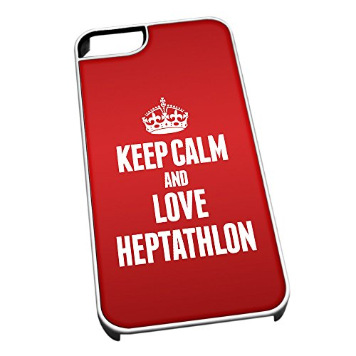 Bianco cover per iPhone 5/5S 1766Red Keep Calm and Love Heptathlon