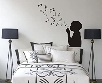 Boy Blowing Music Notes Wall Decal Sticker Bubbles Nursery Kid Room Girl  Baby Part 53