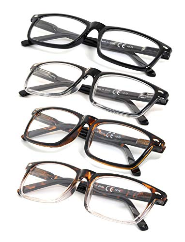 4-Pack Vintage Style Reading Glasses with Spring Hinges