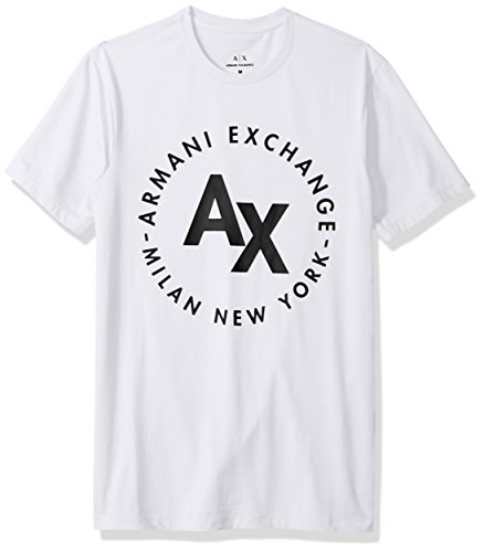 A|X Armani Exchange Men's Circle Logo Crew Neck Tee, White, - Exchange Armani Logo