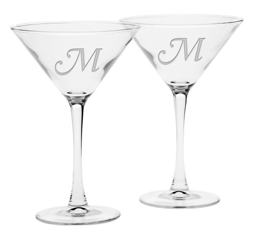Culver Deep Etched Martini Glass, 7-1/4-Ounce, Monogrammed Letter-M, Set of 2