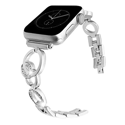 Watch Band 38mm 40mm,Silver Women Bracelet,Bling Diamond Women Metal Sport Adjustable Armband for Watch 4 3 2 1 38mm 40mm ()