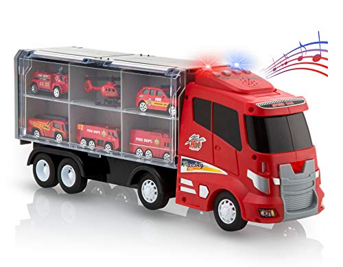Advanced Play Transport Car Carrier Truck Toys for Boys and Girls Fire Truck Toy Set Includes 6 Metal Diecast Play Rescue Vehicles and 12 Slots with Flashing Lights Sounds Music for Kids Toddler