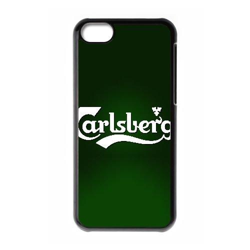 W8L14 Carlsberg logo fond cas de téléphone S4T0PR coque iPhone 5c cellulaire couvercle coque noire DA7FTH0NN