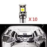 LED Bulbs For Renault Megane Reading lights,Xenon White Super Bright Error Free Canbus Car Interior Dome Map Door Courtesy License Plate Lights 10Pcs