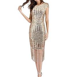 Vestito Donna Anni 50 ✿WQIANGHZI✿ Vestiti Donne Eleganti Corto Cerimonia Sexy Abiti Halter Nappa Moda Paillettes Cocktail Prom Dress Gonna