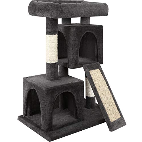 (URPOWER Cat Tree, 3-Level Cat Tower 2 Plush Condos Furniture and Spacious Top Perch Cat Activity Tree with Sisal-Covered Scratching Posts and Ladder for Kittens Pet House)