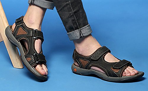 Odema Hombres Summer Leather Open-toed Strap Sandalias Atléticas Deportivas Al Aire Libre Negro