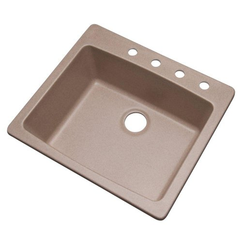 Price comparison product image Mont Blanc Northbrook Drop-in Composite Granite 25x22x9 4-Hole Single Bowl Kitchen Sink in Desert Sand