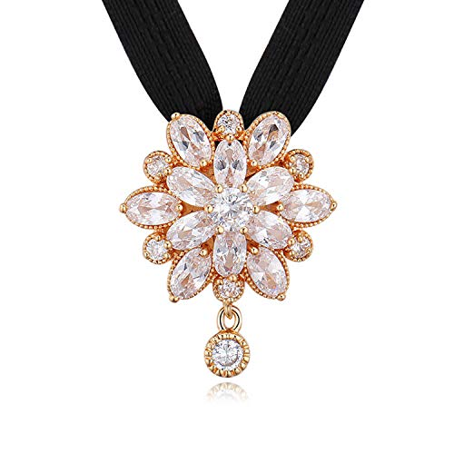 Buy Nevi Zirconia Copper Rose Gold Flower Chocker Pendant Jewellery For Girls Women Gold Black At Amazon In
