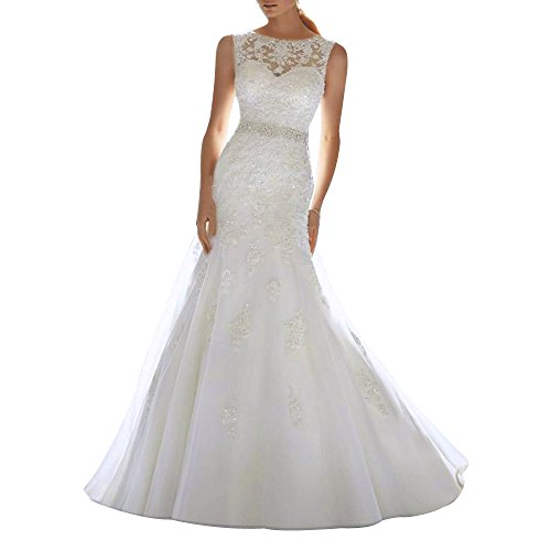 Train Chapel Women's AbaoWedding® Lace Wedding White Beading Applique Dress xBwCqCX
