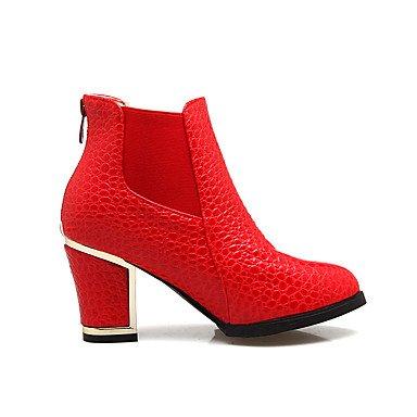 Talon Hiver black Blanc à 5 Habillé Rouge 7 Femme Similicuir Mode Bottes à Automne cm Gros Décontracté Bottes Noir amp;xuezi 9 la 5 GLL Boucle 8fxFq6p6