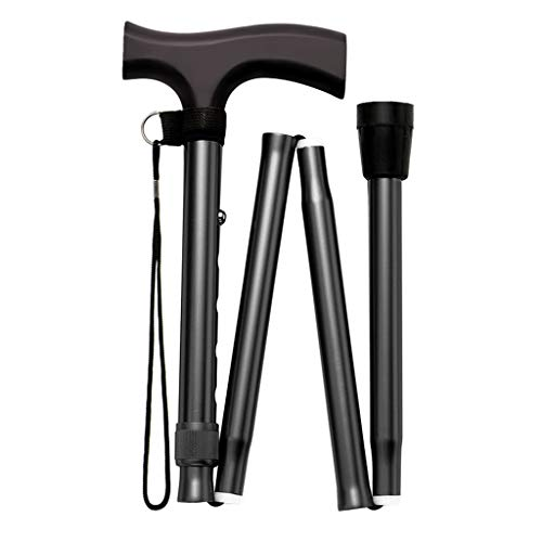 JYKOO Folding Cane Travel Adjustable Mountaineering Cane and Crutches Men and Women Portable Walking Stick Balanced Walker Stylish, Comfortable Maple Wood T-Handle,Black