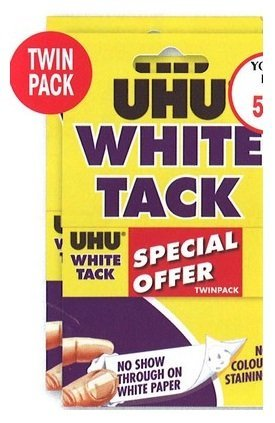 Blu Tack - UHU white tack twin pack - sticky reusable adhesive