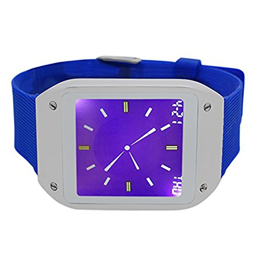 Techno Pave Digital Touch Screen Gear Square Face Silver with Blue Rubber Band Watch