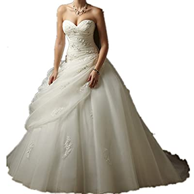 Miami Dress White Strapless Wedding Dress For Bride Ball Gown Plus Size in Stock
