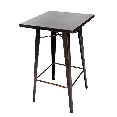 Merax Rectangular Distressed Metal Bar Table, Pub Table 39 Inch High  (Golden Black)