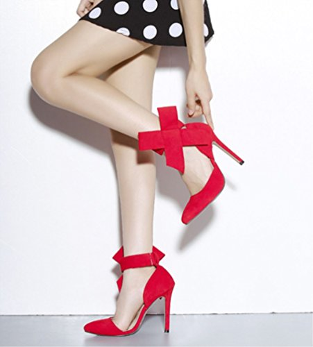 Rojo Tacón Zhhzz Liangxie Moda Zapatos Gran Tamaño color Ladies Fine Talón Alto Mariposa Con Superb Alto Punta Puro De confort rq0HrUX