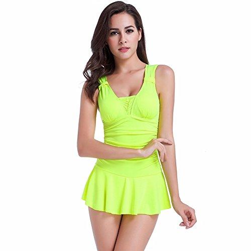 Uskincare Mujer Chica Bañador Traje de Baño de Una Pieza Escote en U Push Up Triángulo Bikinis 4-Amarillo Fluorescente