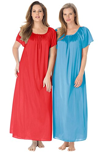Only Necessities Women's Plus Size 2-Pack Long Nightgown Set Crystal Sea Coral (Crystal Apparel Sea)