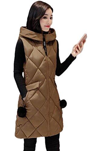 位置するオーストラリア人個人的なGuDeKe ダウンベスト レディース ロング ダウンジャケット ノースリーブ 厚手 アウター フード付き ロングベスト 防寒ジャケット 細身 軽量 暖かい 中綿 着痩せ おしゃれ 通勤 ファッション