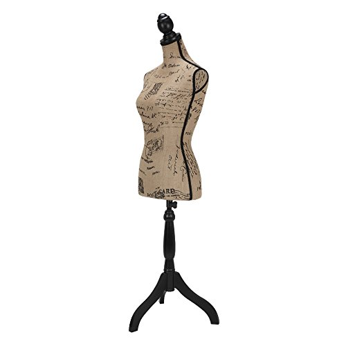 Homegear Female Lady Mannequin Torso Form with Tripod Stand for Displays / Photography BLACK / WHITE / PATTERN (Vintage pattern) by Homegear (Image #1)