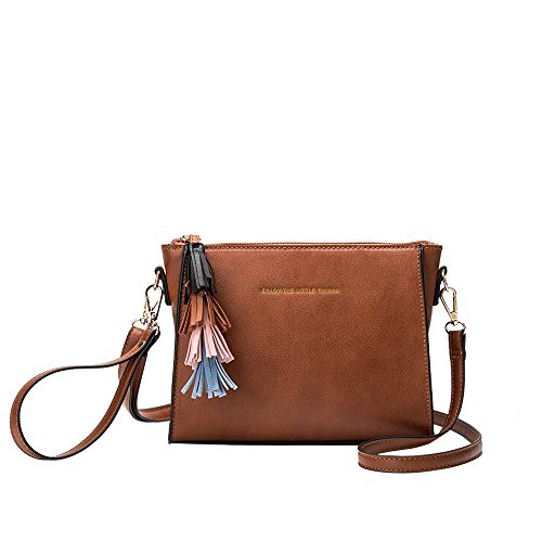 Melie Bianco Byron Designer Convertible Crossbody W/ Embroidered Quote,Byron Saddle,One Size