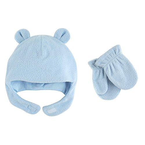 Luvable Friends Baby Infant Fleece Bear Hat and Mitten Set, Light Blue, 12-18 (Fleece Baby Fleece Hat)
