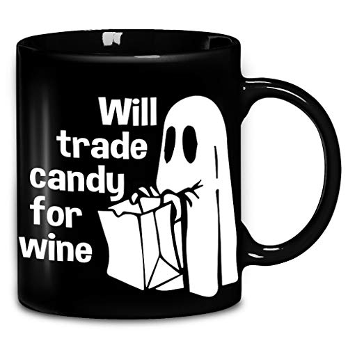 Ghost Will Trade Candy For Wine Coffee Mug 11oz & 15oz Ceramic Tea Cups ()