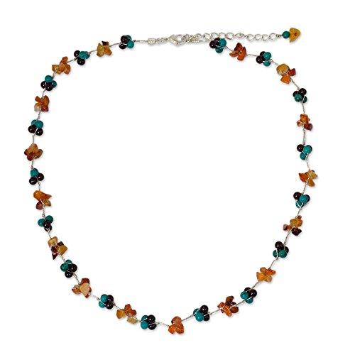 (NOVICA Multi-Gem .925 Sterling Silver Plated Beaded Necklace,18
