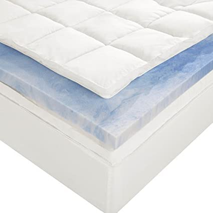 Sleep Innovations 4 Inch Dual Layer Mattress Topper Gel Memory