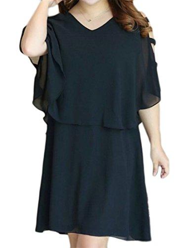 Cromoncent Out Black Women's Cut Cape Sleeveless Chiffon Dress Stylish Neck V OOqrgxp7
