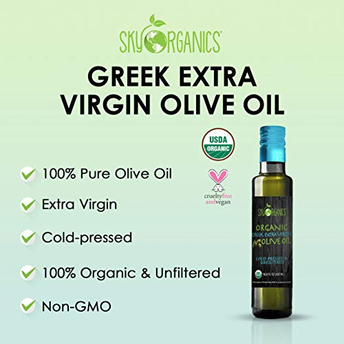 Organic Extra Virgin Olive Oil Sky Organics 16.9 oz-100% Pure, Greek, Cold Pressed, Unfiltered, Non-GMO EVOO- For Cooking, Baking, Hair & Skin moisturizing- Award Winning Best USDA Organic Olive Oil