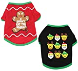 Alroman Dogs Christmas Shirts Snowflakes Clothes Pet Santa Claus Suit Puppy Red Clothing Doggie Winter Apparel Cold Weather Coats Cat Xmas Costumes New (XS (2.2~4.4lbs), Pack of 2 (No. 3))