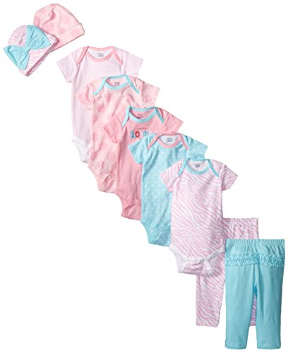 Gerber Baby-Girls Newborn Flowers 9 Piece Playwear Bundle, Love, 3-6 Months