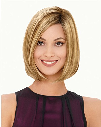 WIGOO Natural Shoulder Length Bob Straight Blonde Hair Wig for Wommen + Wig Cap (Flapper Makeup Kit)