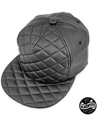 57757203372bf Quality 5 Panel PU Leather Quilted Foam Strapback Cap Adjustable Fit Men  Women Unisex Flat Visor