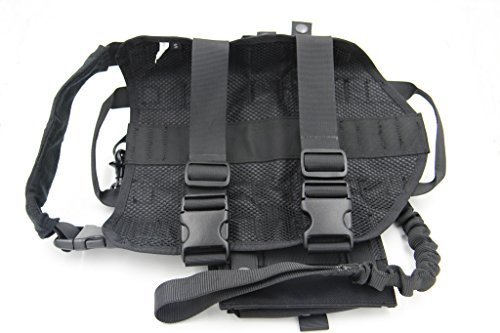 Taousa-70283-Tactical-Dog-Training-Molle-Vest-Harness-with-Detachable-Pouches-Military-Tactical-Dog-Leash-Black-Size-S