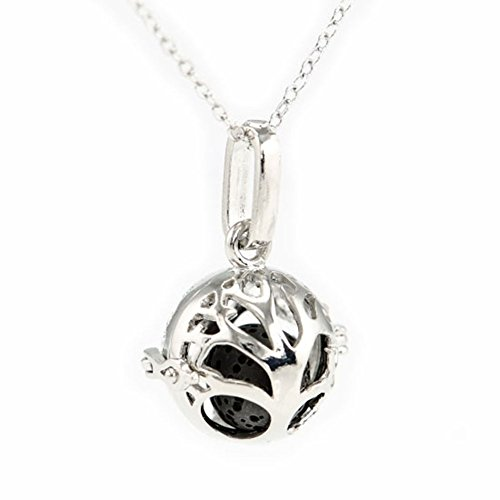 Sier Small Tree of Life Aromatherapy Perfume Essential Oil EO Diffuser Necklace Locket with Lava Stone (Black) (Sier Oil)